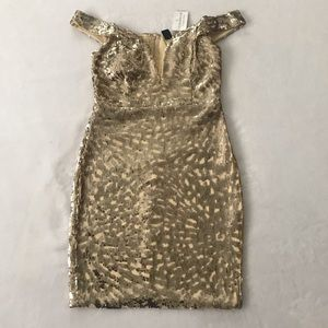 Windsor Sequin holiday gold dress s NWT